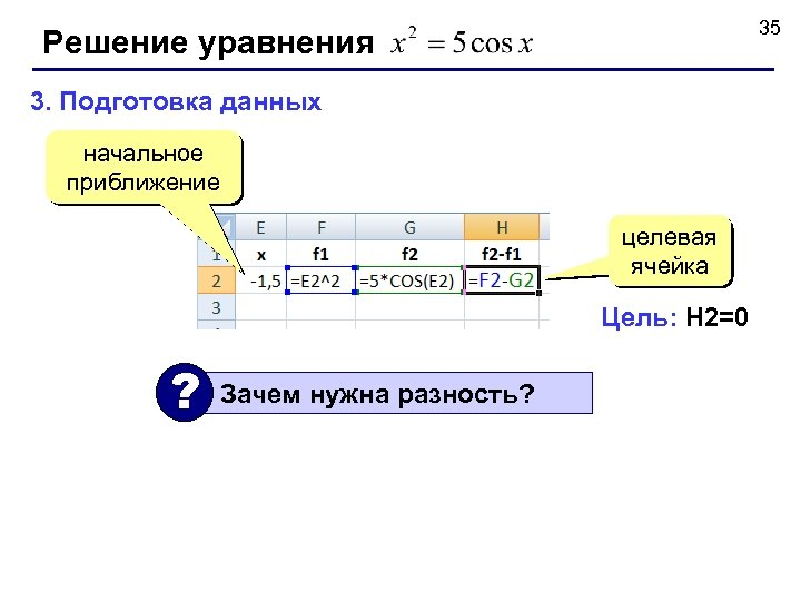 35 Решение уравнения 3. Подготовка данных начальное приближение целевая ячейка Цель: H 2=0 ?