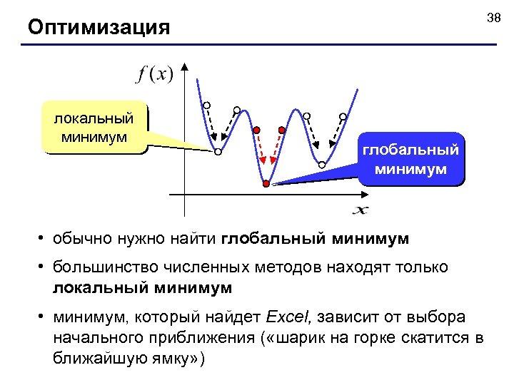 38 Оптимизация локальный минимум глобальный минимум • обычно нужно найти глобальный минимум • большинство