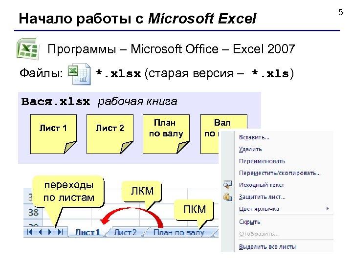 5 Начало работы с Microsoft Excel Программы – Microsoft Office – Excel 2007 Файлы: