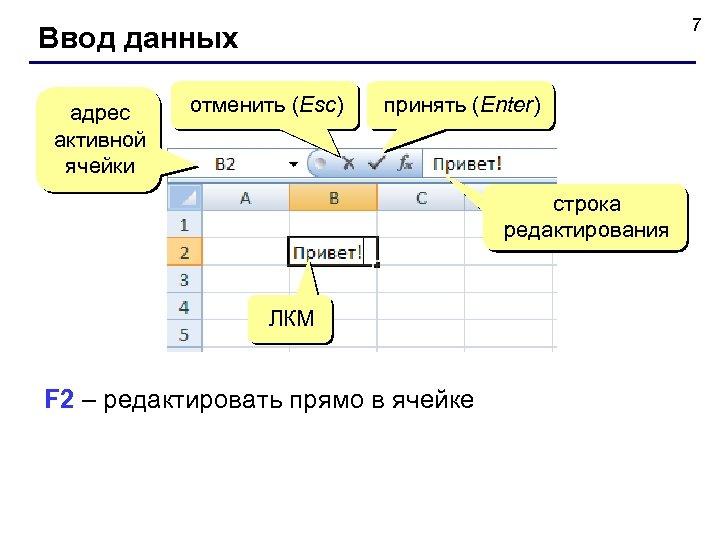 7 Ввод данных адрес активной ячейки отменить (Esc) принять (Enter) строка редактирования ЛКМ F