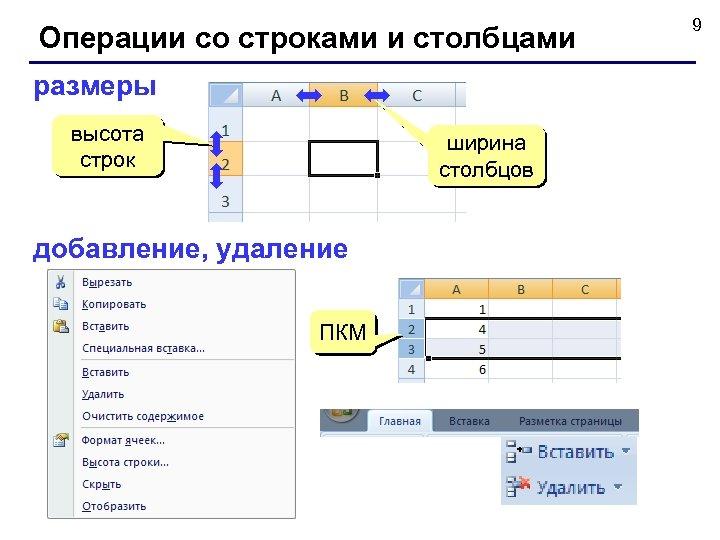 Операции со строками и столбцами размеры высота строк ширина столбцов добавление, удаление ПКМ 9