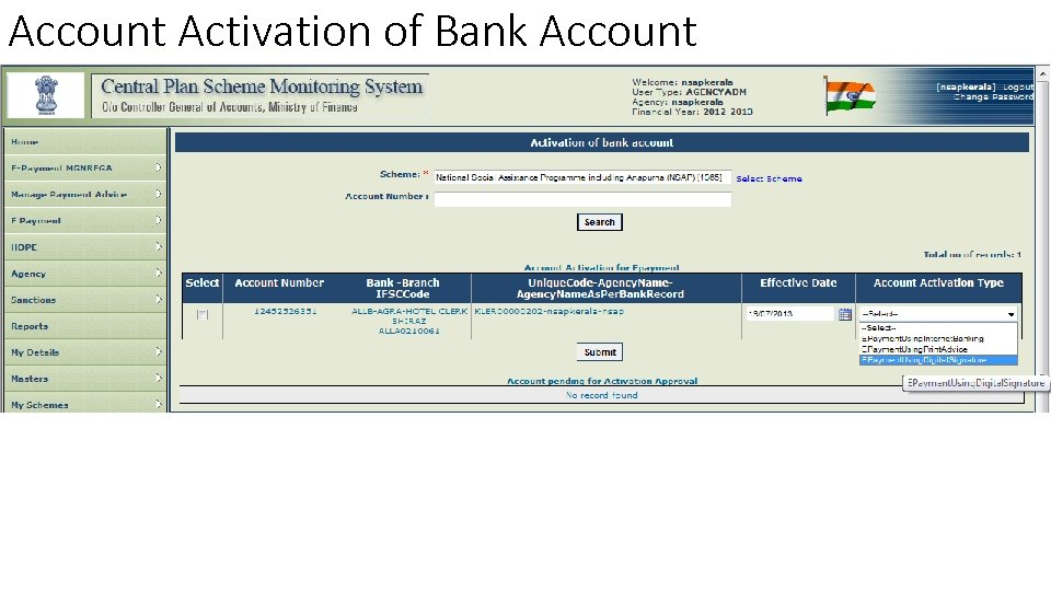 Account Activation of Bank Account