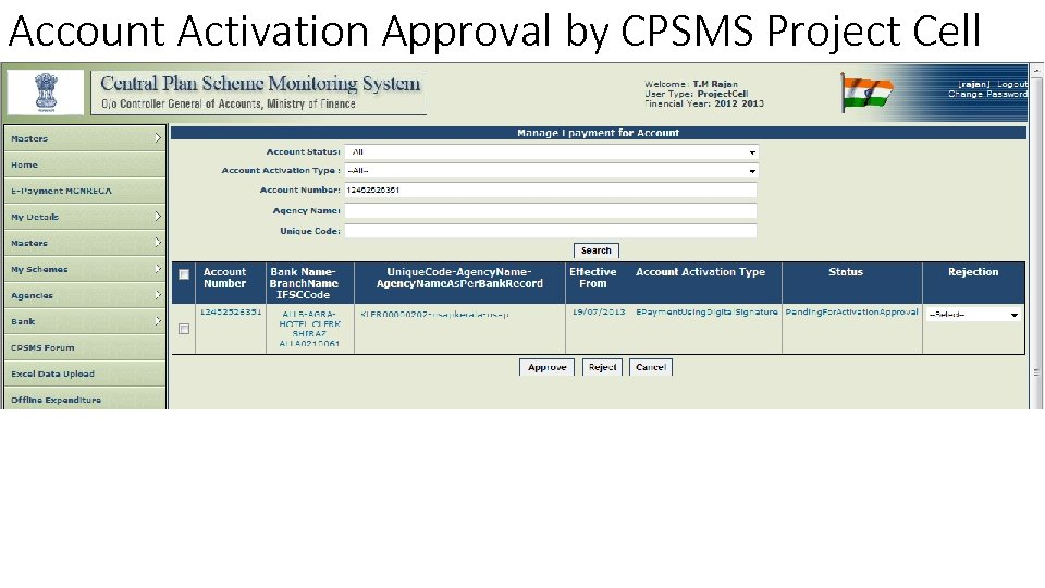 Account Activation Approval by CPSMS Project Cell