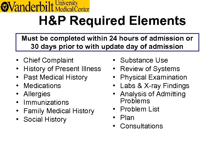 H&P Required Elements Must be completed within 24 hours of admission or 30 days
