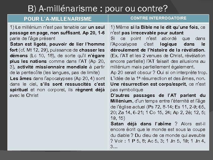 B) A-millénarisme : pour ou contre? POUR L'A-MILLENARISME CONTRE INTERROGATOIRE 1) Le millénium n'est