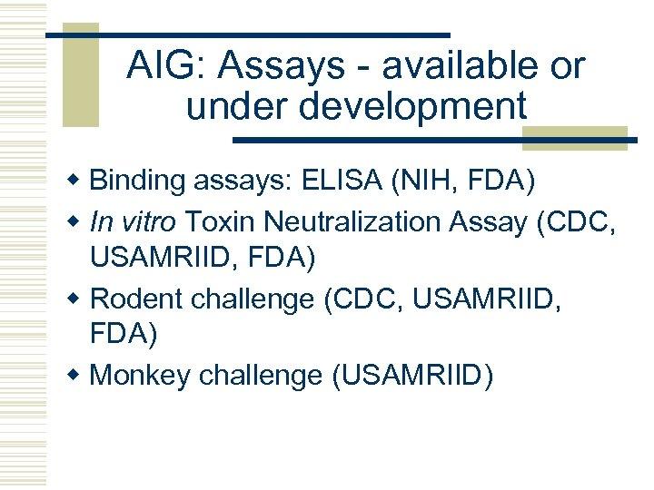 AIG: Assays - available or under development w Binding assays: ELISA (NIH, FDA) w