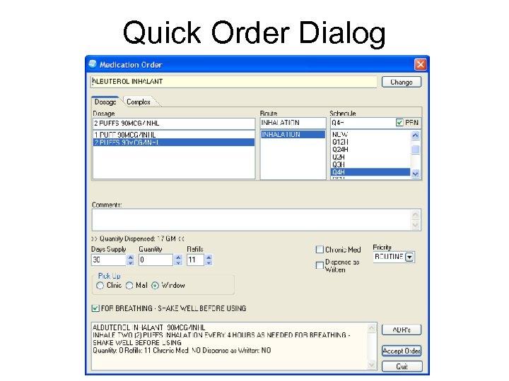 Quick Order Dialog