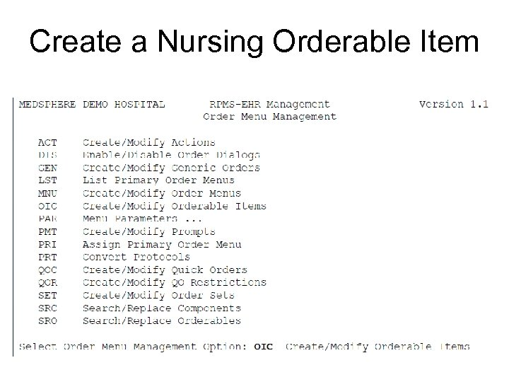 Create a Nursing Orderable Item