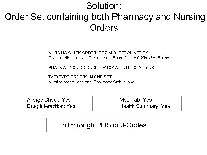 Solution: Order Set containing both Pharmacy and Nursing Orders NURSING QUICK ORDER: ORZ ALBUTEROL