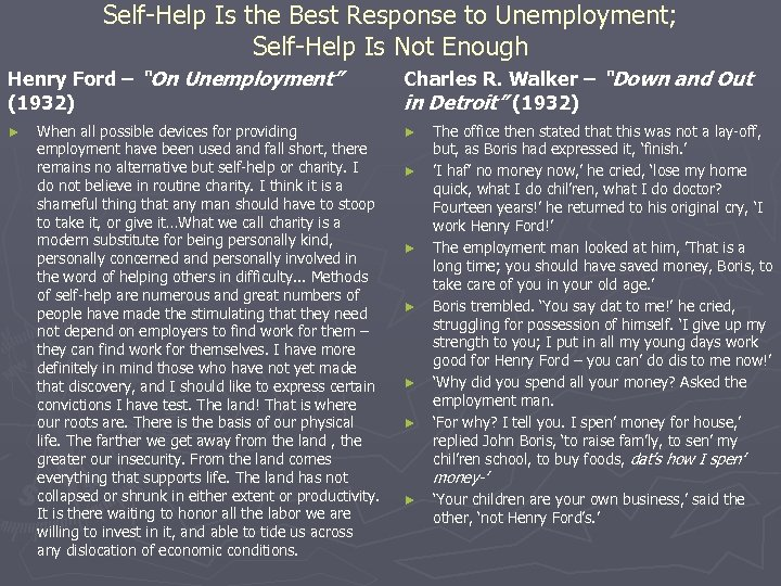 Self-Help Is the Best Response to Unemployment; Self-Help Is Not Enough Henry Ford –