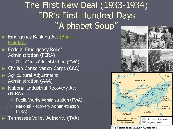 """The First New Deal (1933 -1934) FDR's First Hundred Days """"Alphabet Soup"""" Emergency Banking"""