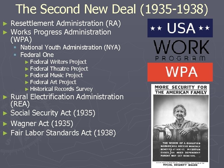 The Second New Deal (1935 -1938) ► ► Resettlement Administration (RA) Works Progress Administration