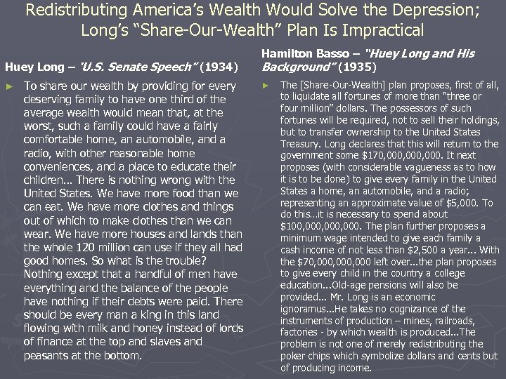 """Redistributing America's Wealth Would Solve the Depression; Long's """"Share-Our-Wealth"""" Plan Is Impractical Huey Long"""
