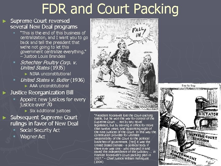 """FDR and Court Packing ► Supreme Court reversed several New Deal programs § """"This"""