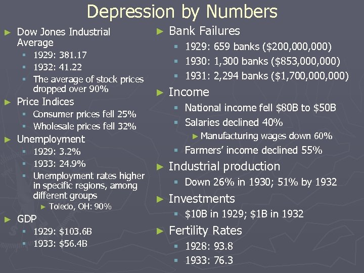Depression by Numbers ► Dow Jones Industrial Average § § § ► 1929: 381.
