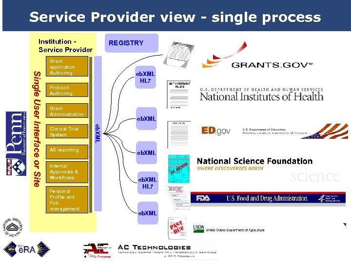 Service Provider view - single process Institution Service Provider REGISTRY eb. XML HL 7