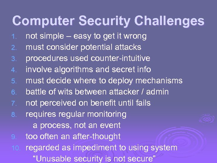 Computer Security Challenges 1. 2. 3. 4. 5. 6. 7. 8. 9. 10. not