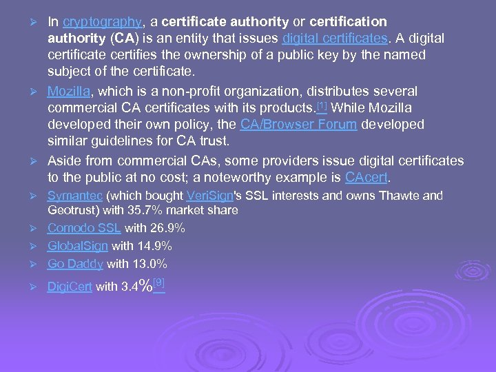 In cryptography, a certificate authority or certification authority (CA) is an entity that issues