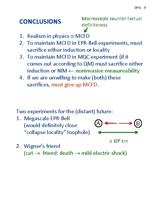 DPG CONCLUSIONS Macroscopic counter factual definiteness 1. Realism in physics MCFD 2. To maintain