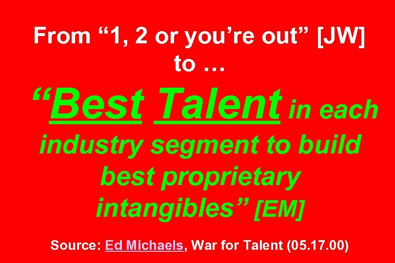 """From """" 1, 2 or you're out"""" [JW] to … """"Best Talent in each"""