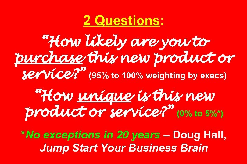 "2 Questions: ""How likely are you to purchase this new product or service? """