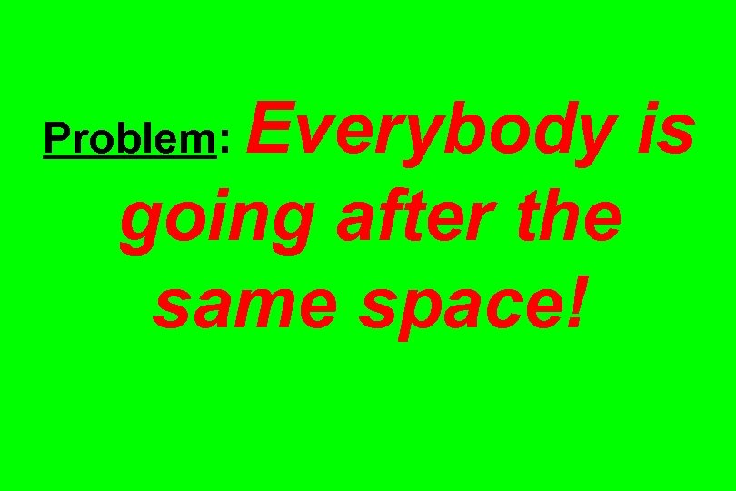 Everybody is going after the same space! Problem:
