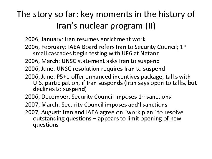 The story so far: key moments in the history of Iran's nuclear program (II)