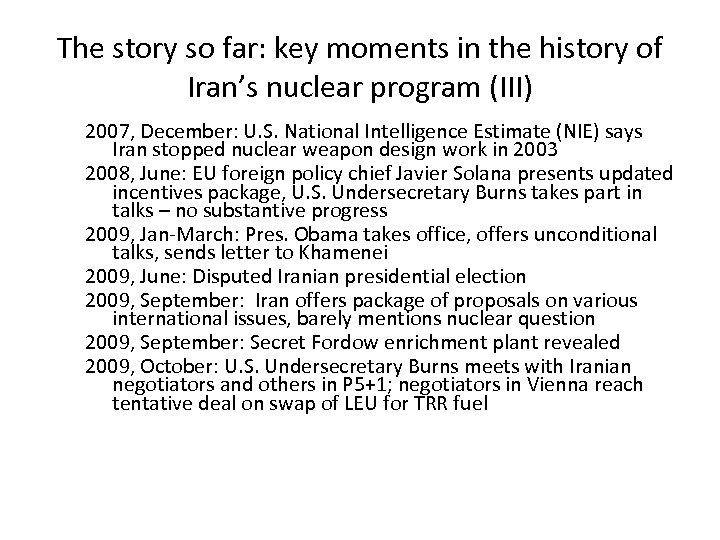 The story so far: key moments in the history of Iran's nuclear program (III)