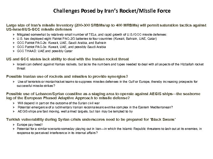 Challenges Posed by Iran's Rocket/Missile Force Large size of Iran's missile inventory (200 -300