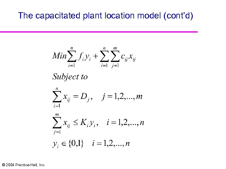 The capacitated plant location model (cont'd) © 2004 Prentice-Hall, Inc.