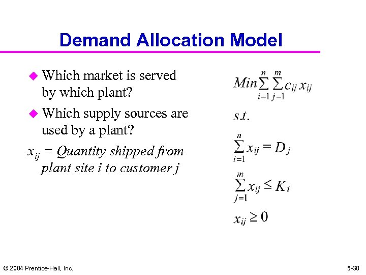 Demand Allocation Model u Which market is served by which plant? u Which supply