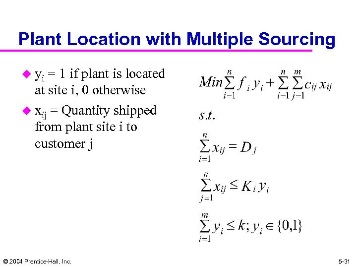 Plant Location with Multiple Sourcing u yi = 1 if plant is located at