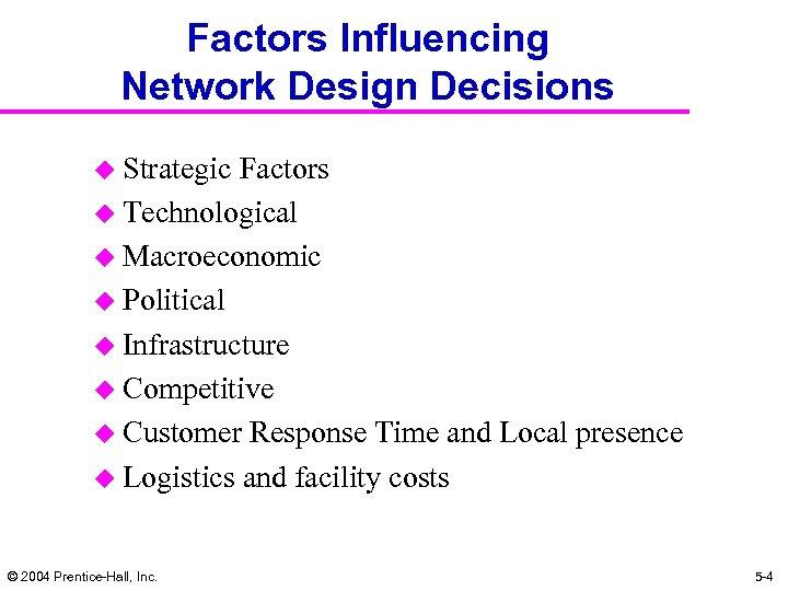Factors Influencing Network Design Decisions u Strategic Factors u Technological u Macroeconomic u Political