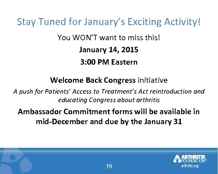 Stay Tuned for January's Exciting Activity! You WON'T want to miss this! January 14,