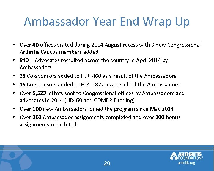 Ambassador Year End Wrap Up • Over 40 offices visited during 2014 August recess