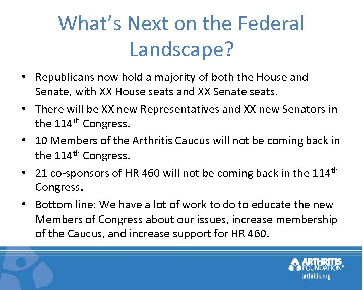What's Next on the Federal Landscape? • Republicans now hold a majority of both