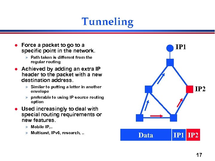 Tunneling l Force a packet to go to a specific point in the network.