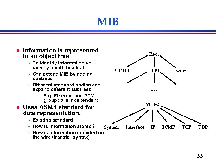 MIB l Information is represented in an object tree. » To identify information you