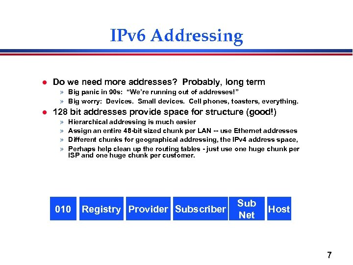 IPv 6 Addressing l Do we need more addresses? Probably, long term » Big