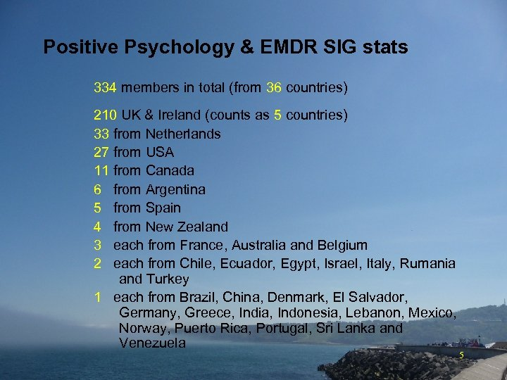 Positive Psychology & EMDR SIG stats 334 members in total (from 36 countries) 210