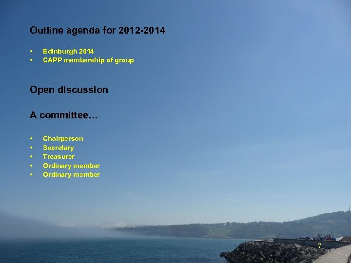 Outline agenda for 2012 -2014 • • Edinburgh 2014 CAPP membership of group Open