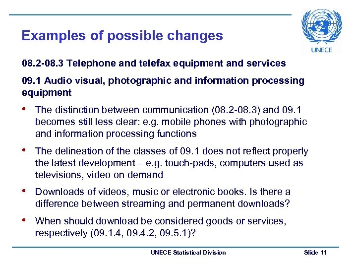 Examples of possible changes 08. 2 -08. 3 Telephone and telefax equipment and services