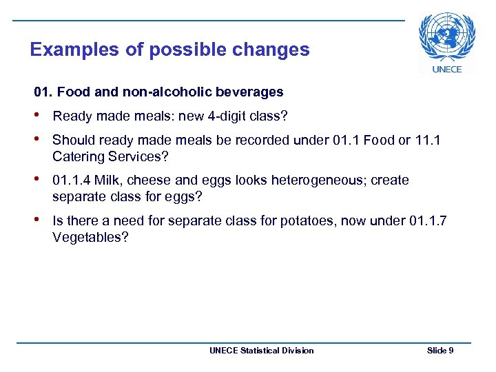 Examples of possible changes 01. Food and non-alcoholic beverages • Ready made meals: new