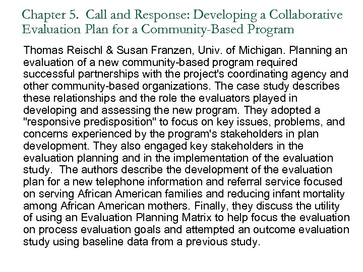 Chapter 5. Call and Response: Developing a Collaborative Evaluation Plan for a Community-Based Program