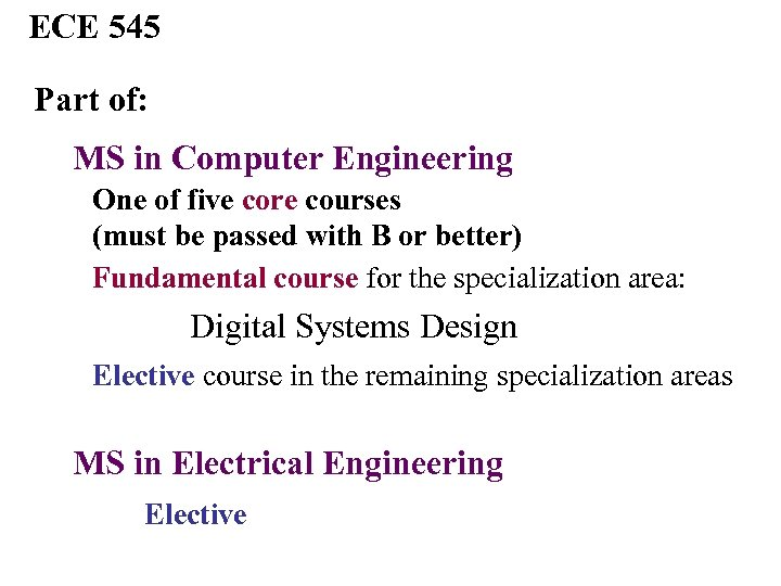 ECE 545 Part of: MS in Computer Engineering One of five core courses (must
