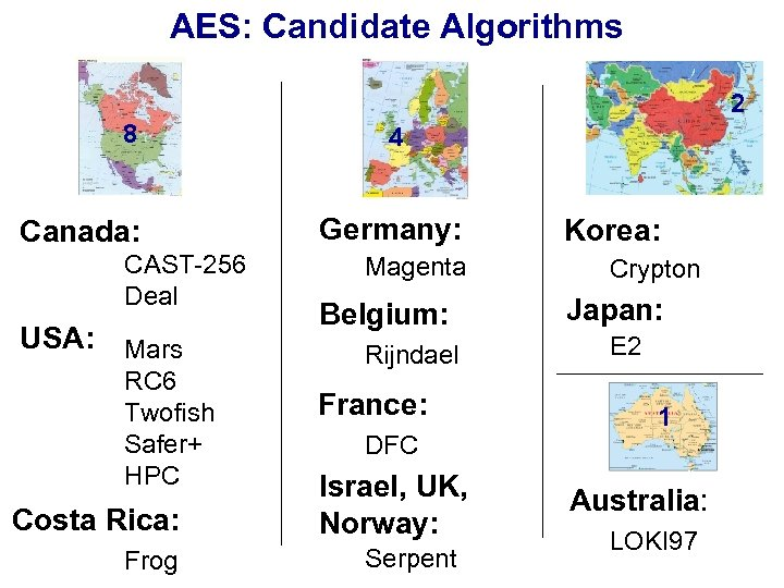 AES: Candidate Algorithms 2 8 Canada: CAST-256 Deal USA: Mars RC 6 Twofish Safer+