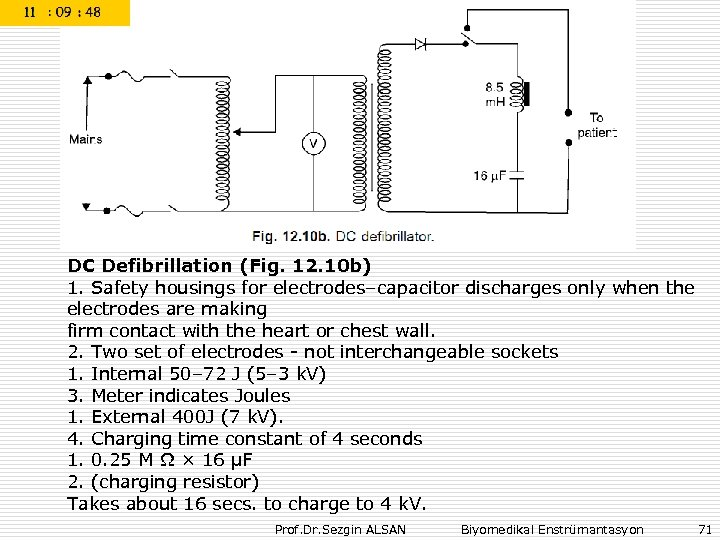 DC Defibrillation (Fig. 12. 10 b) 1. Safety housings for electrodes–capacitor discharges only when