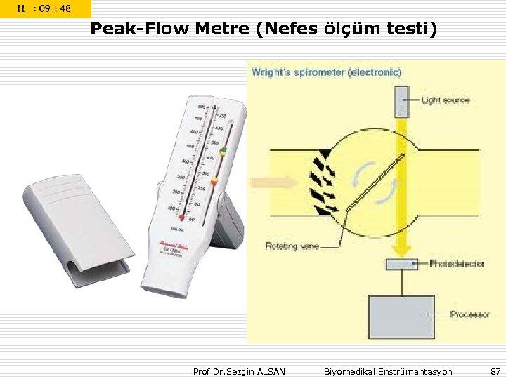 Peak-Flow Metre (Nefes ölçüm testi) Prof. Dr. Sezgin ALSAN Biyomedikal Enstrümantasyon 87