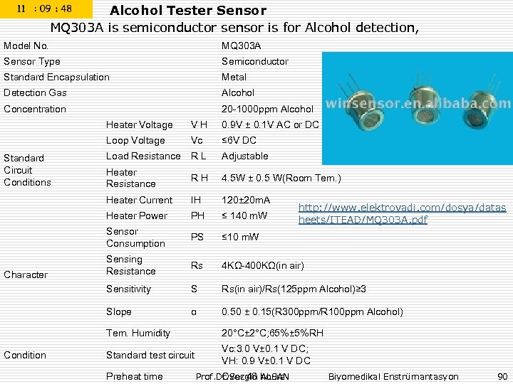 Alcohol Tester Sensor MQ 303 A is semiconductor sensor is for Alcohol detection, Model