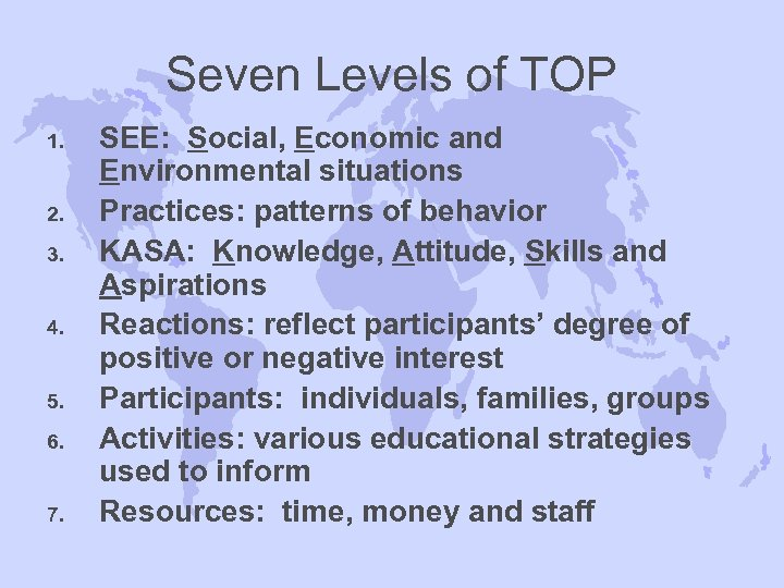 Seven Levels of TOP 1. 2. 3. 4. 5. 6. 7. SEE: Social, Economic